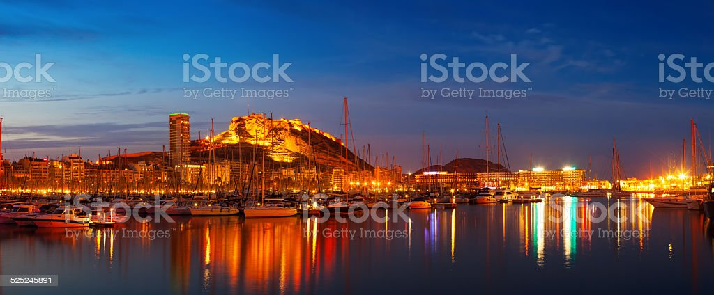 Panorama of port with yachts  in night. Alicante stock photo