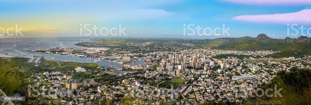 Panorama of Port-Louis Mauritius stock photo