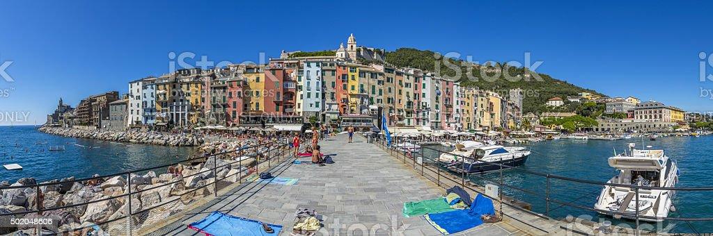 Panorama of Portovenere colorful building , Italy stock photo
