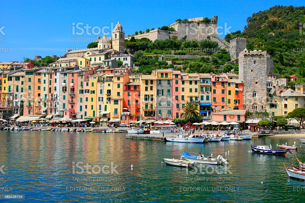 Panorama of Portovenere marina and city life, Liguria, Italy stock photo
