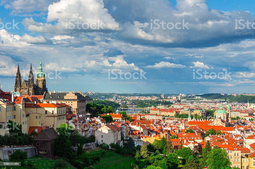 Panorama of Prague, Castle and St. Vitus cathedral stock photo