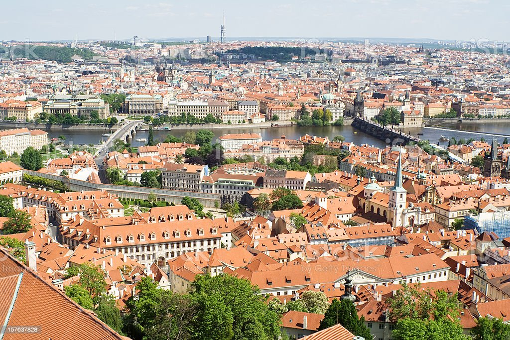 Panorama of Prague from St. Vit Cathedral royalty-free stock photo