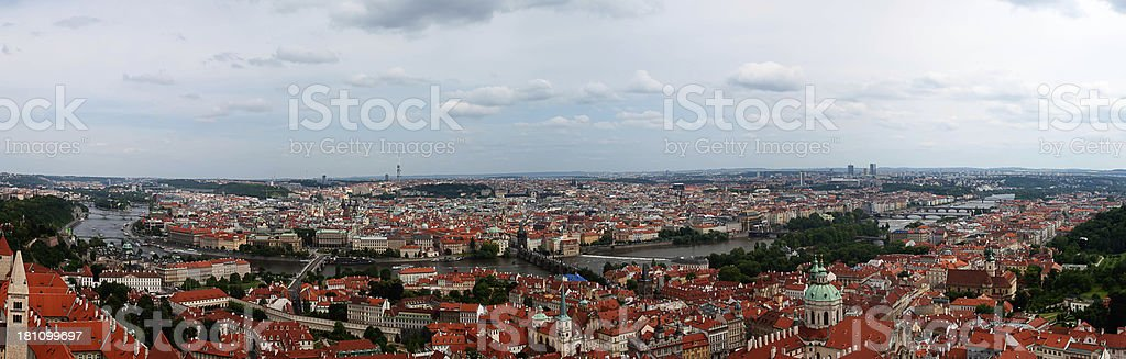 HDR Panorama of Prague skyline bridges and river royalty-free stock photo