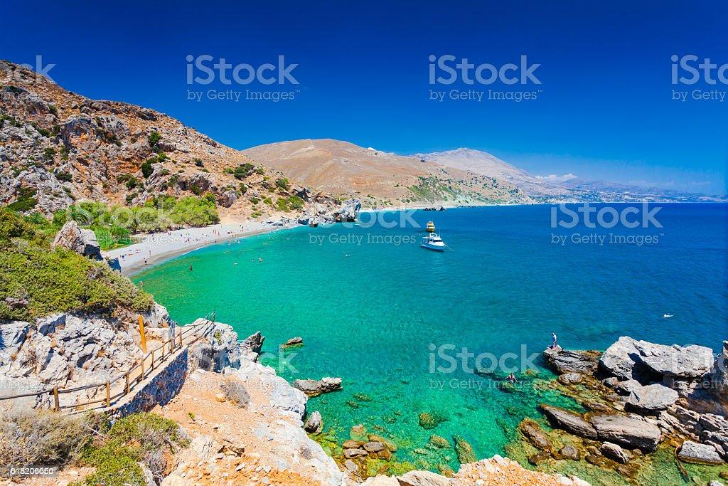 Panorama of Preveli beach at Libyan sea  southern Crete, Greece stock photo