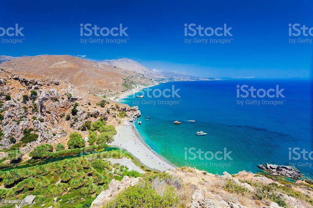 Panorama of Preveli beach, river and palm forest stock photo