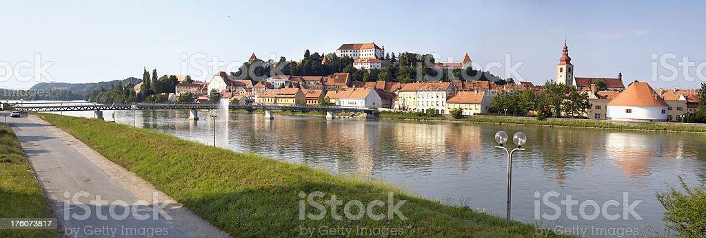 Panorama of Ptuj stock photo