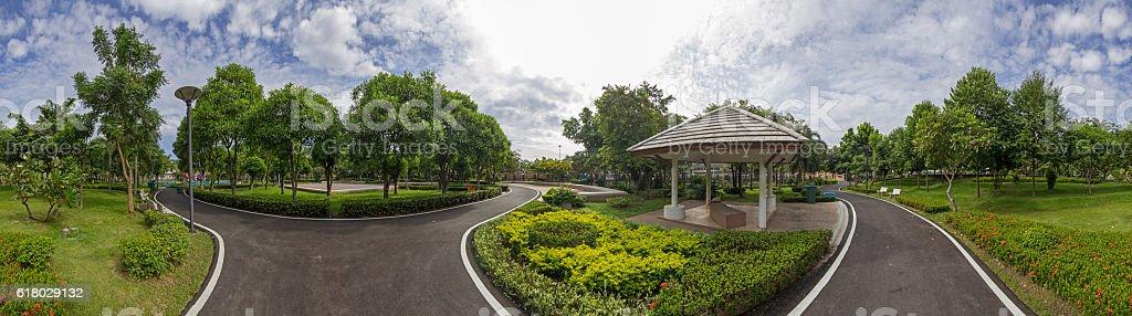 Panorama of public park stock photo