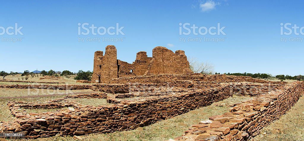 Panorama of Pueblo Ruins at Quarai stock photo