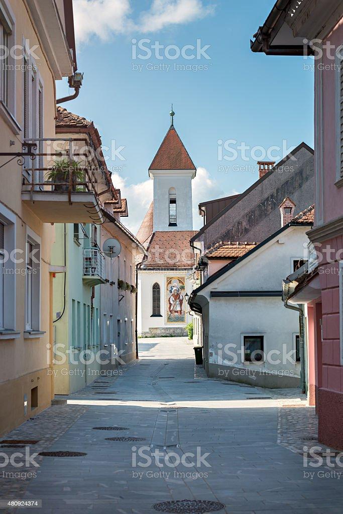 Panorama of Pungart, Kranj, Slovenia, Europe. stock photo