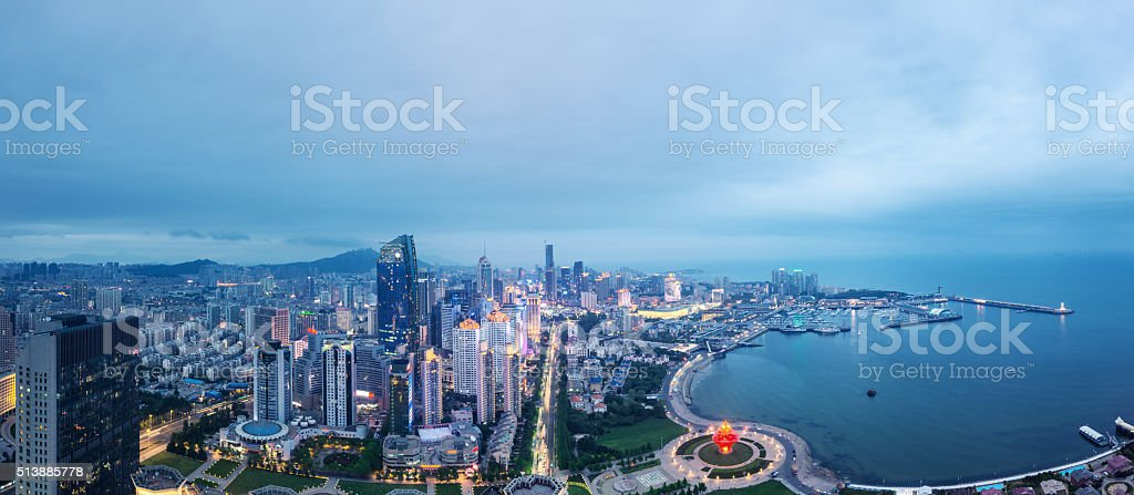 Panorama of Qingdao, China stock photo