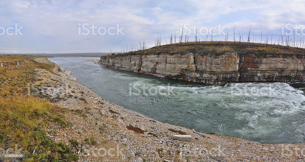 Panorama of rapid in a rocky canyon. stock photo