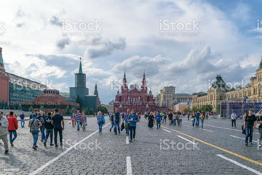 Panorama of Red Square with walking people near the Kremlin stock photo