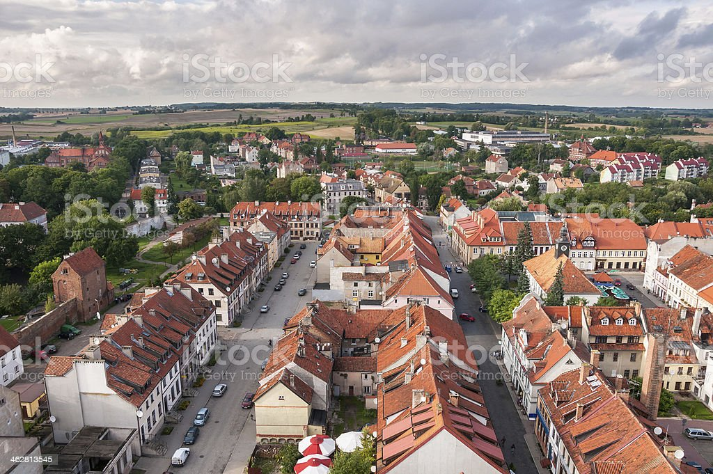Panorama of Reszel in Poland stock photo