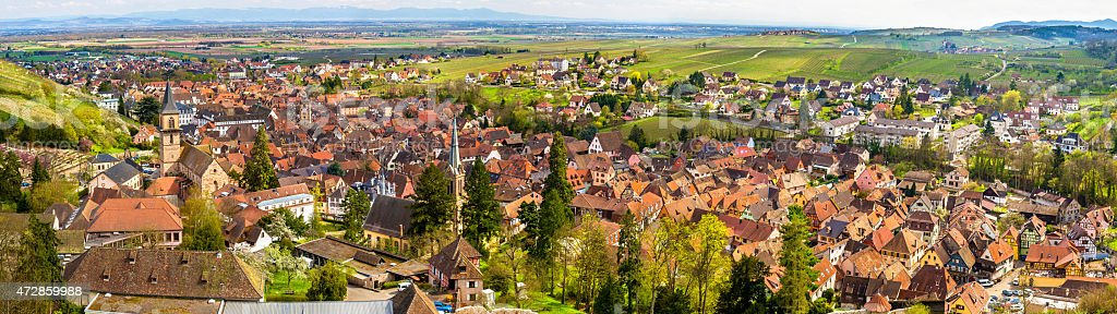 Panorama of Ribeauville, a traditional village in Alsace, France stock photo