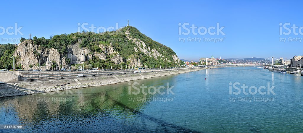 Panorama of right bank of Danube with Gellert Hill, Budapest stock photo