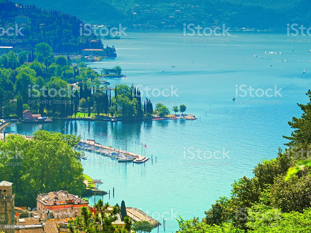 Panorama of Riva del Garda, Trentino, Italy stock photo