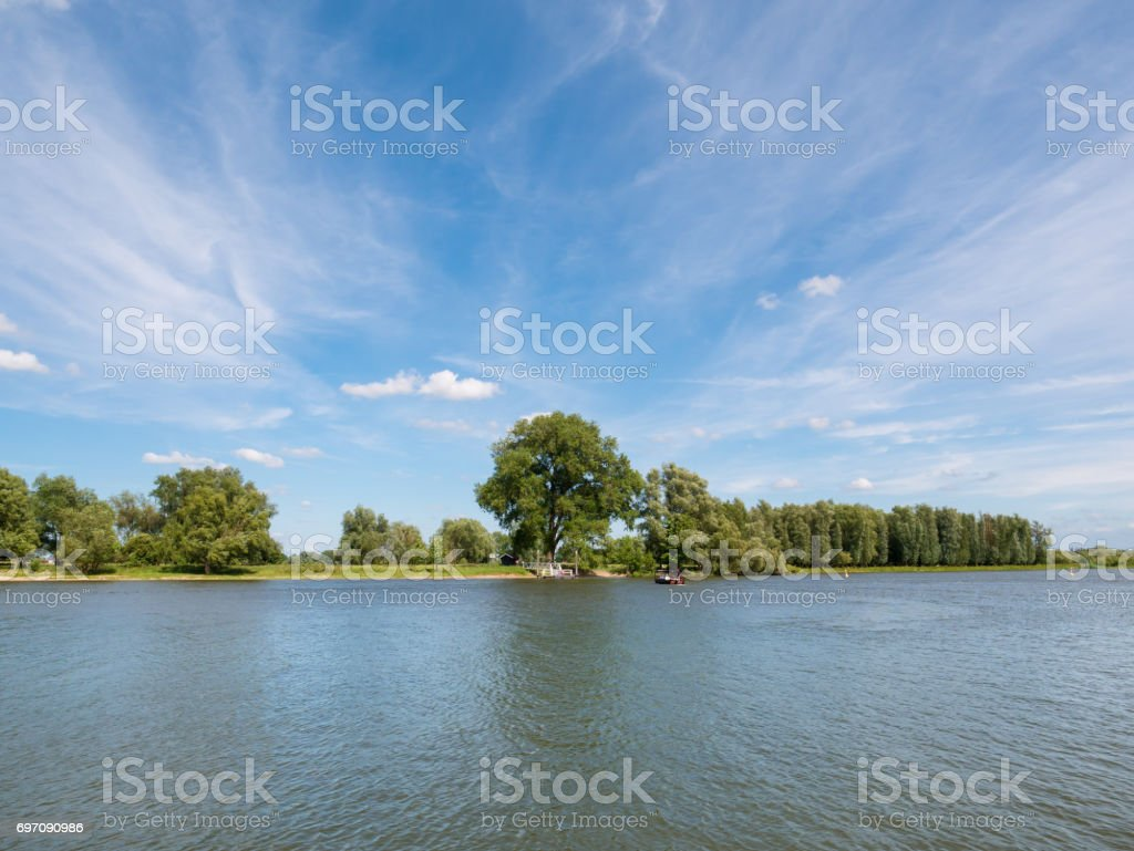Panorama of river Afgedamde Maas near Woudrichem, Netherlands stock photo