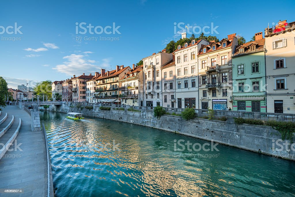 Panorama of river Ljubljanica, Ljubljana, Slovenia, Europe. stock photo