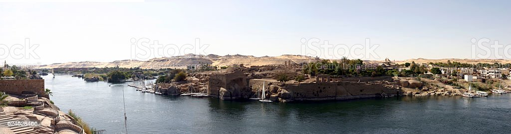 Panorama of river nile in Aswan Egypt stock photo