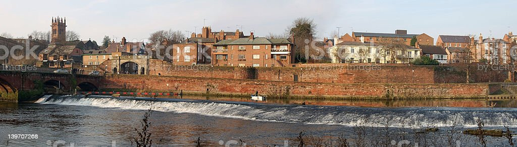 Panorama of River Scene and Roman Walls royalty-free stock photo