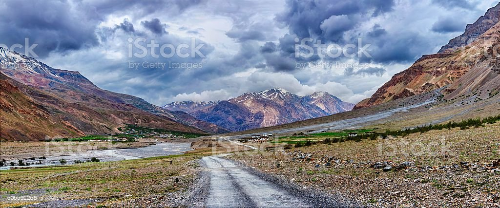 Panorama of road in Himalayas stock photo