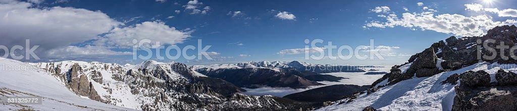 Panorama of Rocky Mountain National Park, Colorado Mountains stock photo