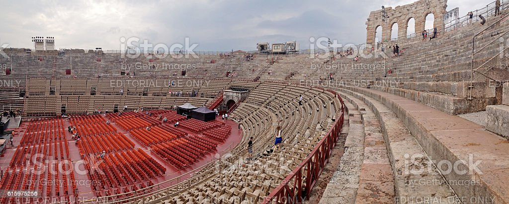 Panorama of roman amphitheatre in Verona, Italy stock photo