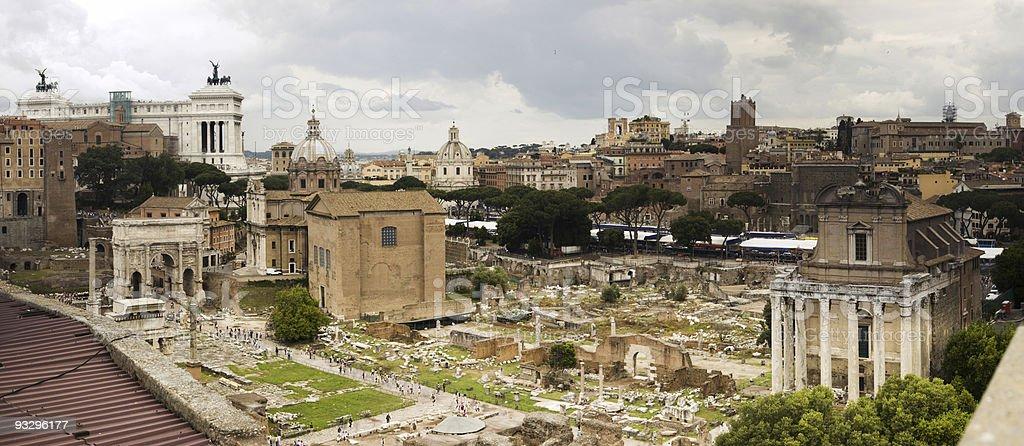 Panorama of Roman Forum stock photo