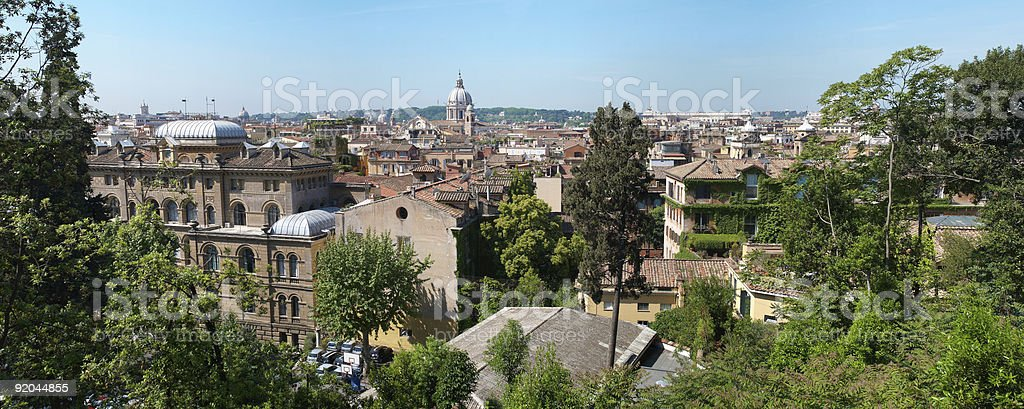 panorama of Rome from Borghese park stock photo