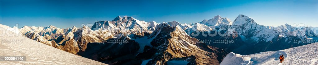 Panorama of Roof of the World Everest and other highest Peak stock photo