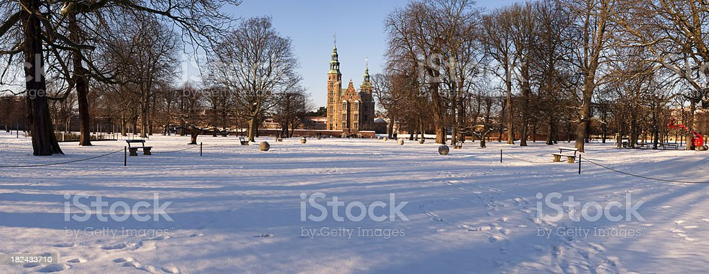 Panorama of Rosenborg Castle a winter stock photo