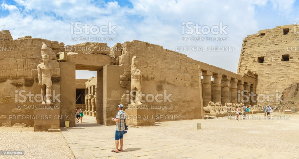 LUXOR, EGYPT, APRIL 20, 2014: Panorama of ruins of Karnak temple in Luxor stock photo