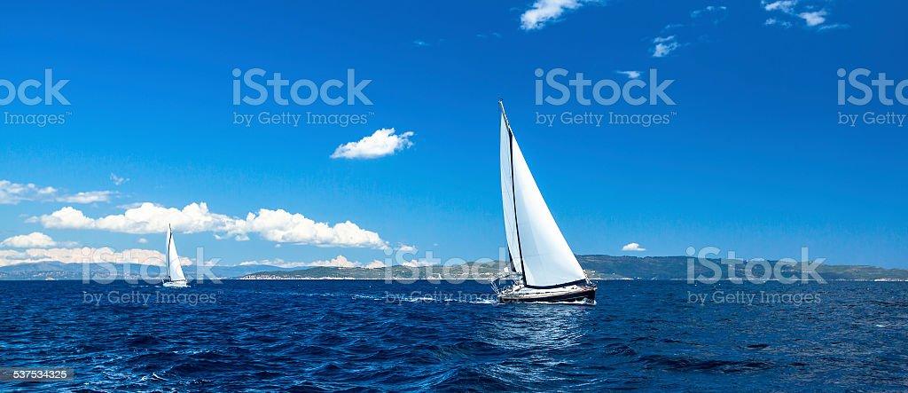 Panorama of sailing regatta. Luxury yachts. stock photo