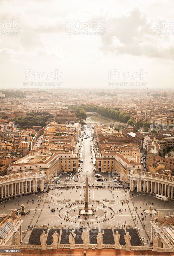 Panorama of Saint Peters Square in Rome from above stock photo