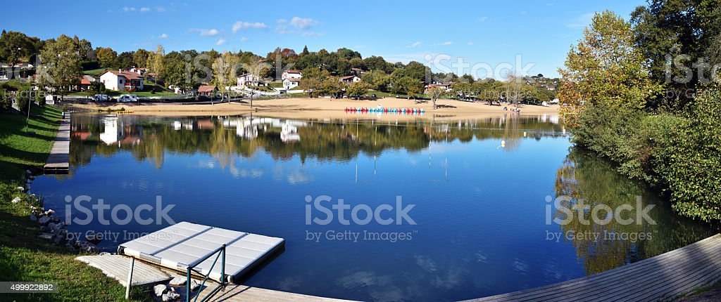 Panorama of Saint-Pee-sur-Nivelle Lake in French Basque Coundry stock photo