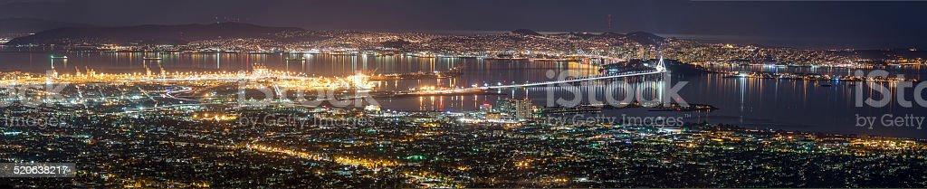 Panorama of San Francisco and SF Bay area at night stock photo