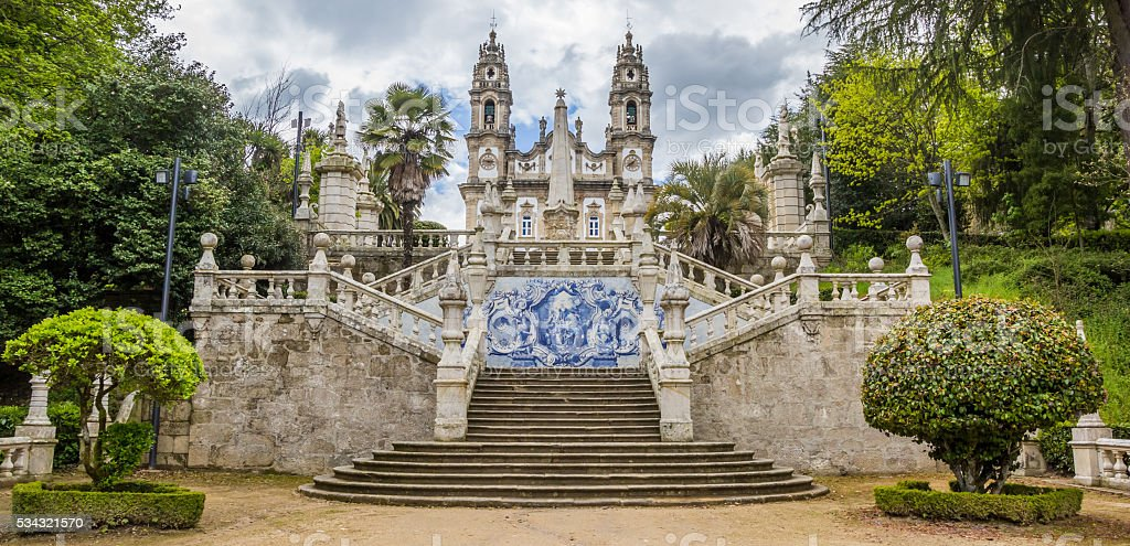 Panorama of Sanctuary of Our Lady of Remedios in Lamego stock photo