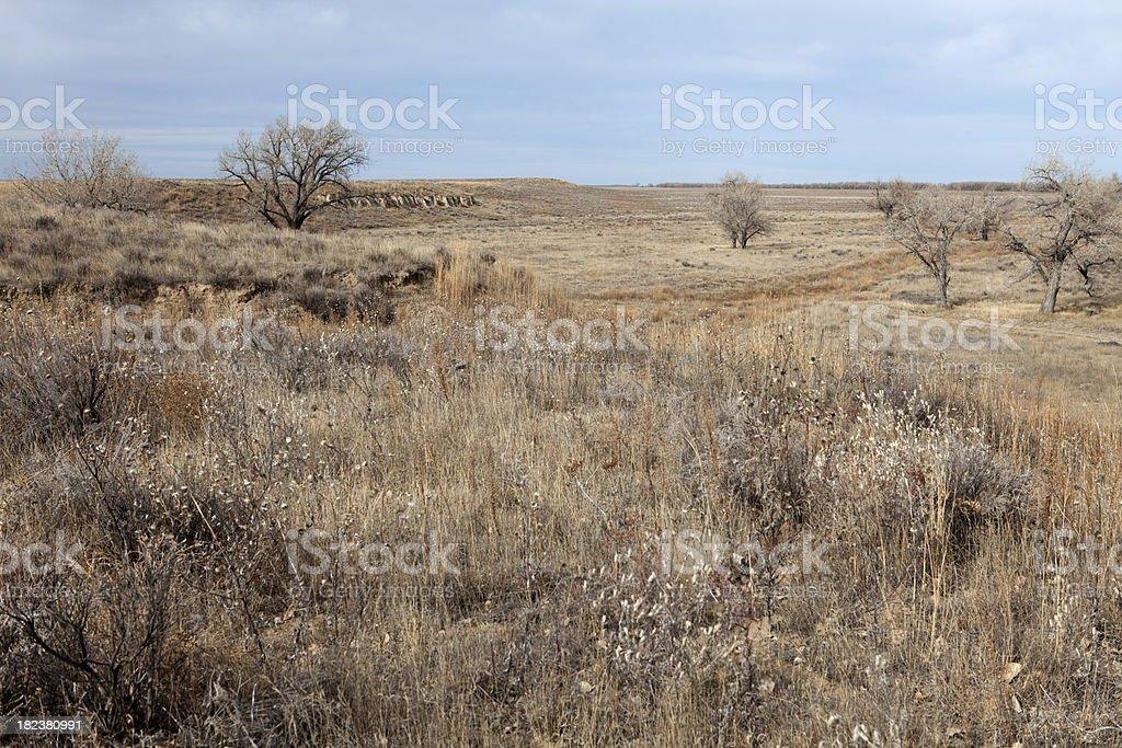 Panorama of Sand Creek Massacre National Historic Site, Colorado stock photo