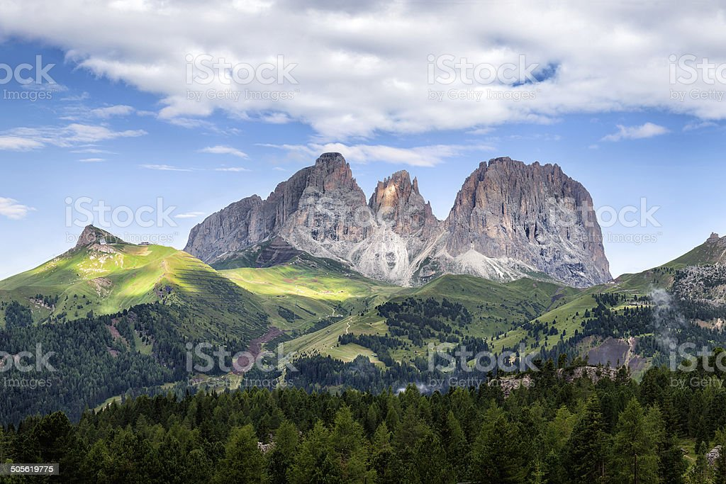 Panorama of Sassolungo mountain peaks stock photo