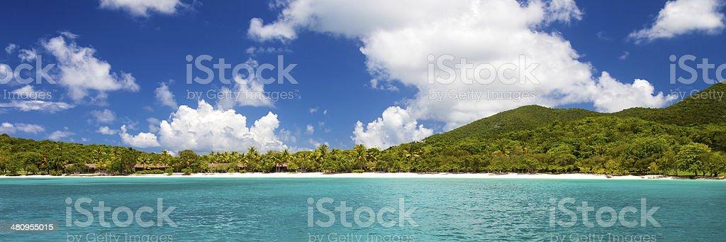 panorama of Scott Beach at Caneel Bay in St.John, USVI stock photo