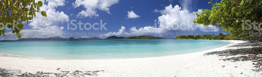 panorama of Scott Beach at Caneel Bay, St.John, USVI stock photo