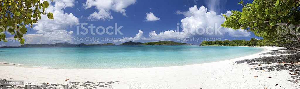 panorama of Scott Beach at Caneel Bay, St.John, USVI stock photo