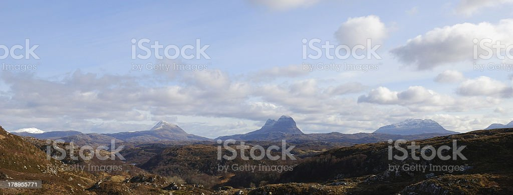 Panorama of Scottish Highland mountains, centered on Suilven, Inverpolly stock photo