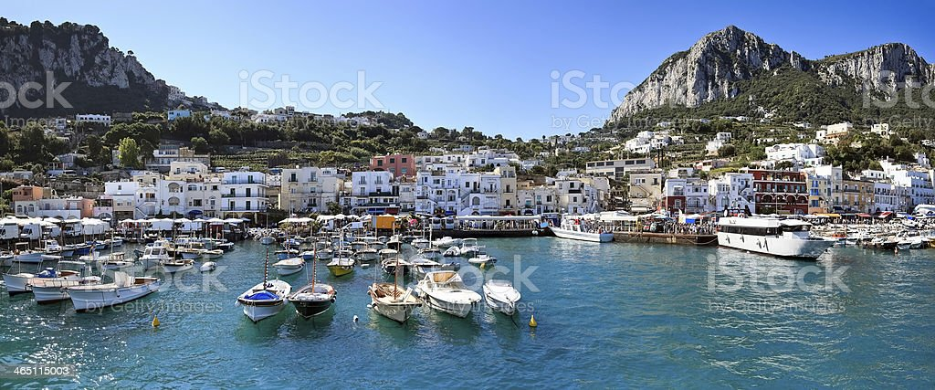 Panorama of seaport Marina Grande, Capri island -Italy stock photo