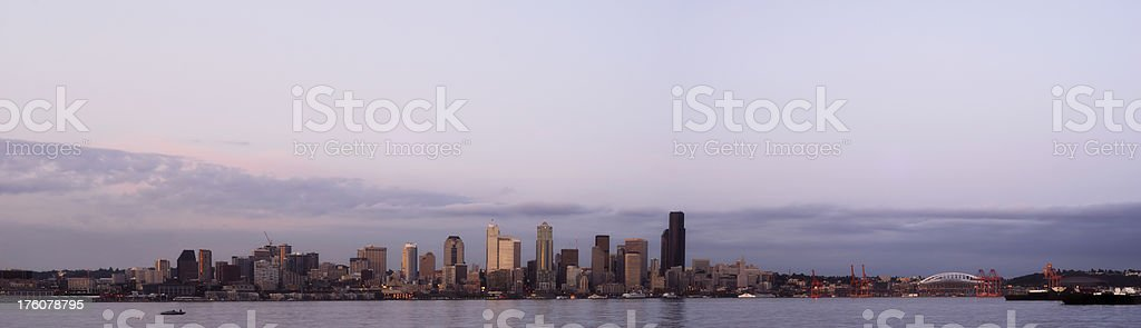 Panorama Of Seattle At Dusk stock photo