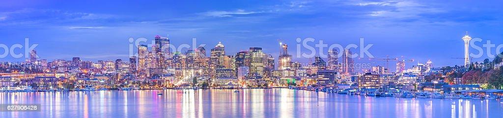 panorama of Seattle cityscape at night with reflection,Washington. stock photo