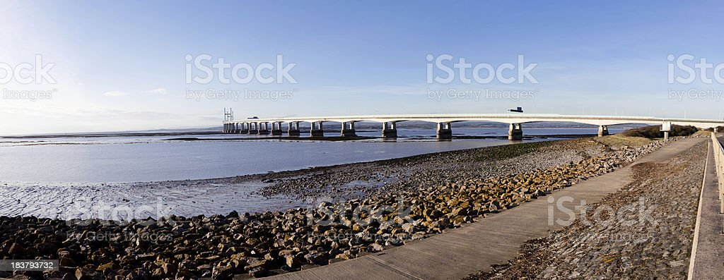 Panorama of Second Severn Crossing bridge royalty-free stock photo