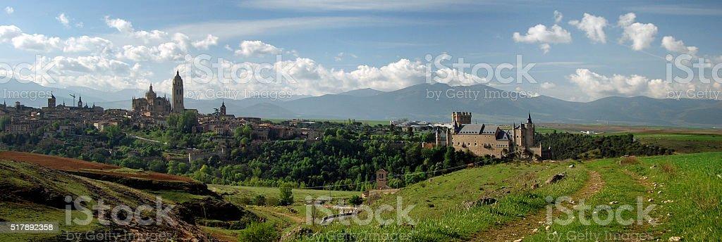 Panorama of Segovia, Spain stock photo
