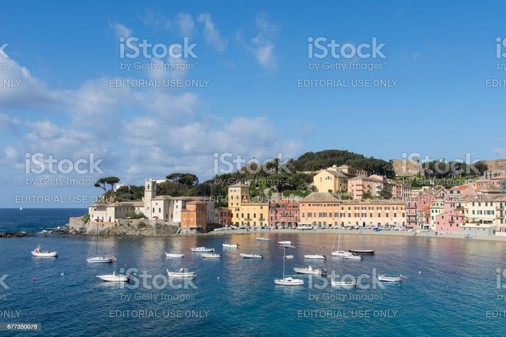 A panorama of Sestri Levante stock photo