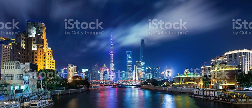 Panorama of Shanghai at Night stock photo